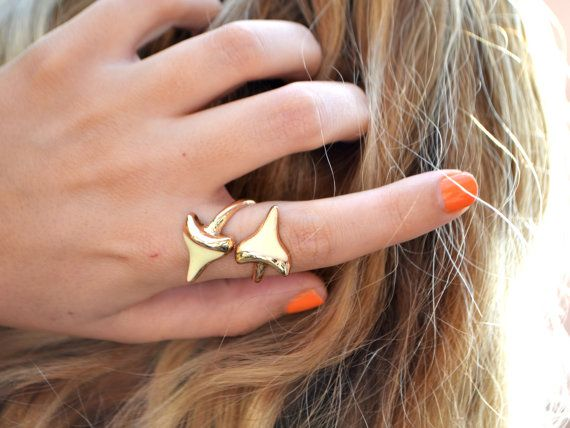 Double Shark Tooth Ring  Shark Tooth Wrap Ring  by StaxxDesignsLLP
