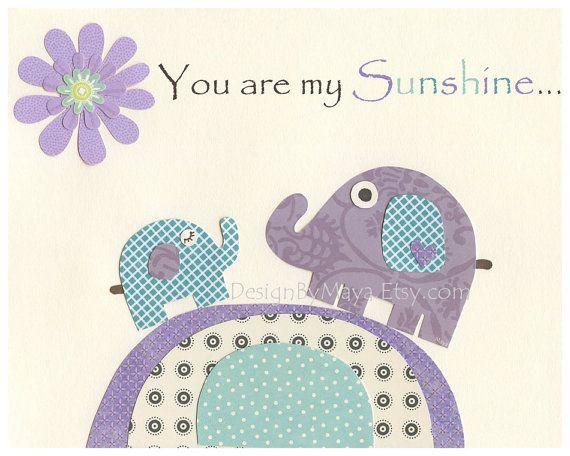 You Are My Sunshine Wall Art For Kids Room - Purple Elephants on a Hill - Nursery wall Art, 8x10 Print (Match Pottery Barn Brooklyn Set)
