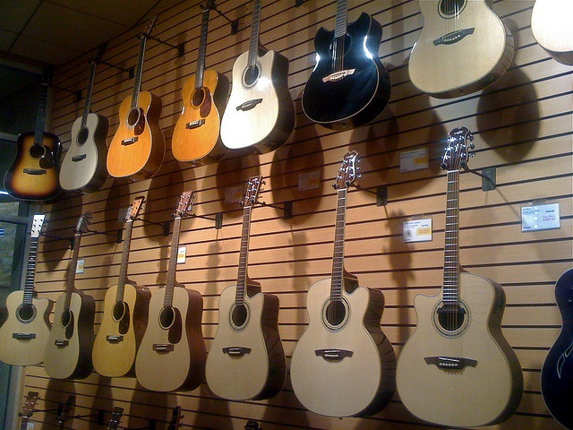 An assortment of acoustic guitars on display in Sweetwater's store in Fort Wayne.     Tips to learn guitar. Learn more on jk-enterprise.com