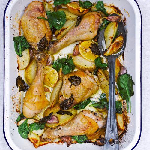 Kip uit de oven met citroen en spinazie - Jamie magazine