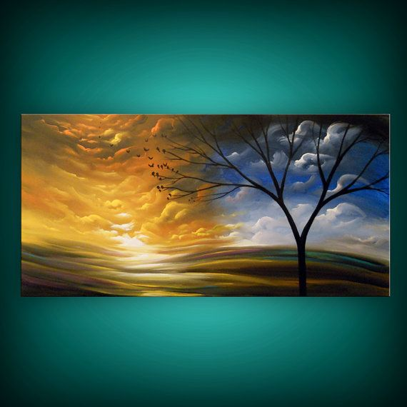 art painting abstract landscape tree painting 48 x 24 by mattsart   375 00. 17 Best ideas about Painted Wall Art on Pinterest   Diy wall  Art