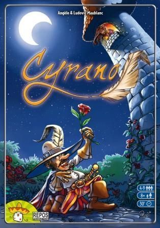 """Description from BoardgameNews.com:  While Cyrano de Bergerac was a real person, Cyrano is based on the play Cyrano de Bergerac, written more than two hundred years after Cyrano's death. In both the play and the game, Cyrano writes poetry to woo a woman for another man. The game Cyrano lasts a number of rounds, and each round starts with a player revealing a theme card and two rhyme cards (""""-aid"""", """"-ed"""" and so on with homonyms being acceptable). E..."""