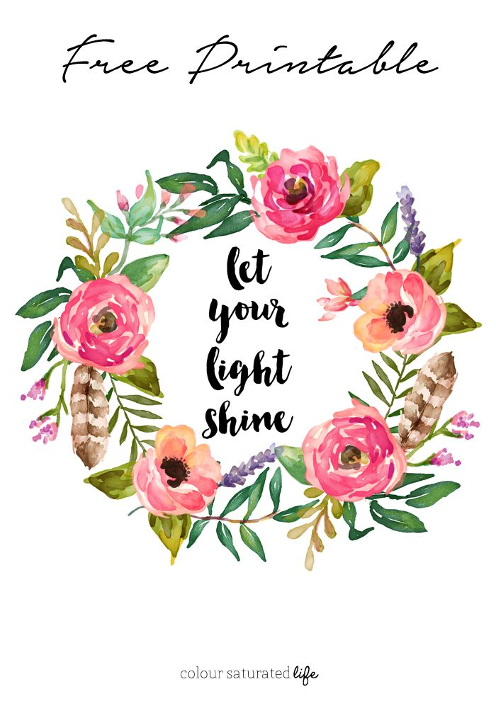 Colour Saturated Life | Free Printable - Let Your Light Shine