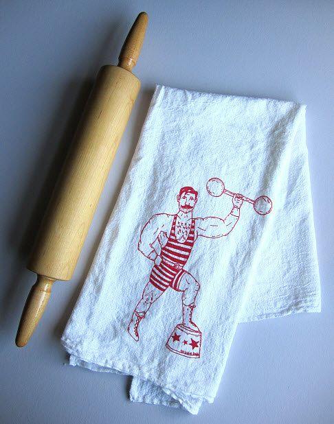 Tea Towel  Screen Printed Organic Cotton Flour by ohlittlerabbit, $8.00