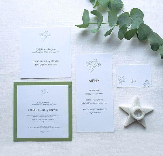 Save the date kort, bryllupsinvitasjon, meny og bordkort i design 'Enkelhet' // ELM DESIGNKOLLEKTIV 2016