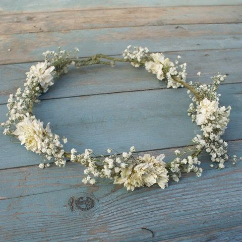 Boho Purity Dried Flower Hair Crown