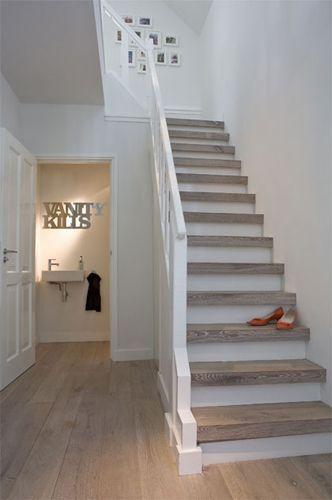 white natural stairs: