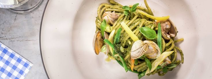 Linguine Al Pesto With Shellfish