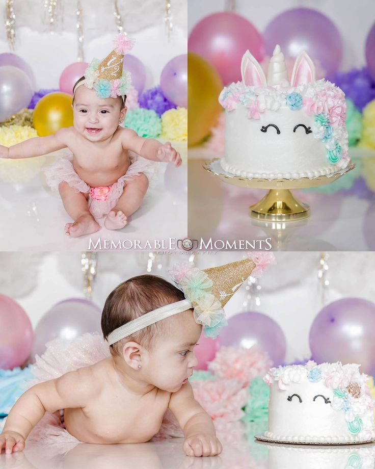Half Birthday Unicorn Themed Smash Cake 6 months birthday | 1/2 birthday | unicorn themed | balloons | pom poms | clouds | tutu | hat | Memorable Moments Photography | RGV Photographer | photography | studio photography
