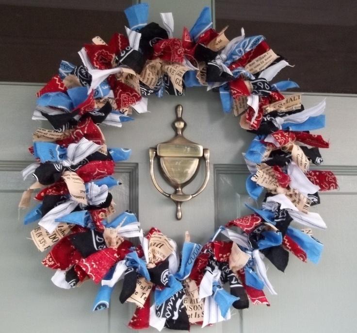 Red-White-and-Blue-Bandana-Wreath-wreath-diy-homedecor ...  Bandana Wreath Directions