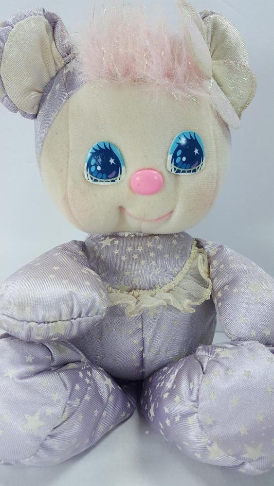 Vintage 1989 Mattel PJ SPARKLES Purple Glow in the Dark Stars Plush Teddy Bear #Mattel
