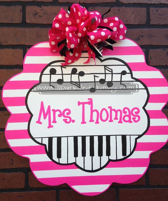 Personalized Striped Music Teacher Sign by SparkledWhimsy on Etsy