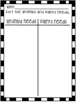sorting t chart of animals and plants needs 1st grade science and s s plant needs plant. Black Bedroom Furniture Sets. Home Design Ideas