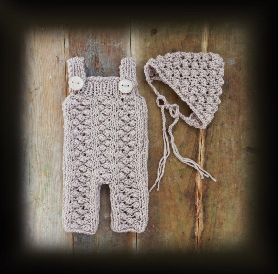 Beige Hand Knit Baby Romper and Bonnet/ Newborn by GabriCollection