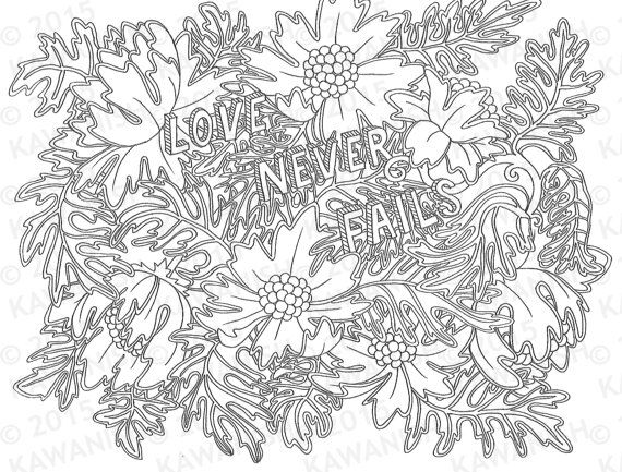 Love never fails adult coloring