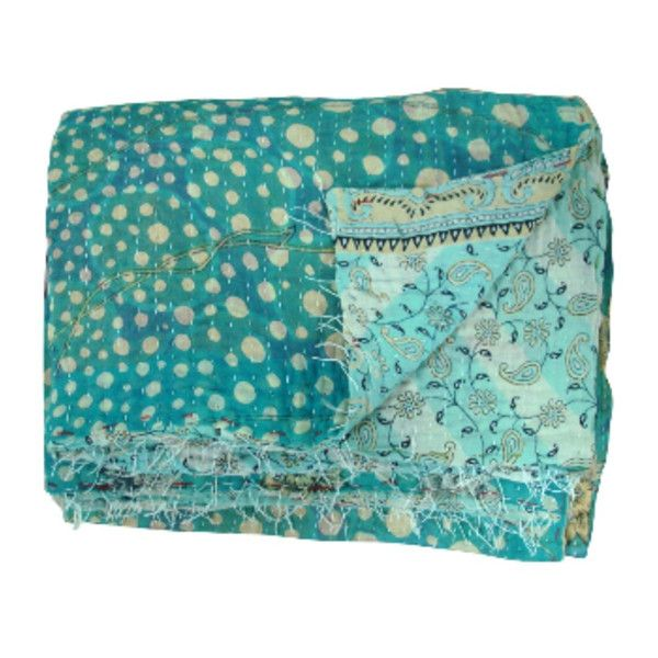 Blue Vintage Bohemian Kantha Throw ($110) ❤ liked on Polyvore featuring home, bed & bath, bedding, blankets, kantha throw, kantha blanket, kantha throw blanket, blue throw and kantha bedding
