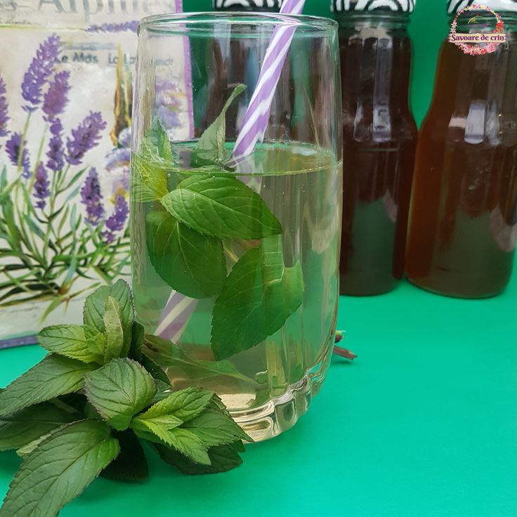 Sirop de mentă făcut acasă, fără conservanți și coloranți, ce poate fi diluat cu apă în zilele toride de vară, adăugat în deserturi, ceaiuri, etc