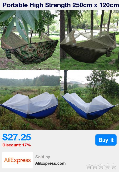 Portable High Strength 250cm x 120cm Parachute Fabric Hammock  tent Hanging Bed Mosquito Outdoor Camping Sleeping Hammock * Pub Date: 23:34 Oct 18 2017