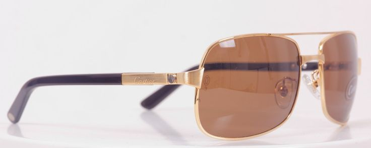 Солнцезащитные очки Cartier (Картье) SANTOS-DUMONT в металлической оправе золотистого цвета, в фирменной упаковке, с поляризованными стеклами (защита от бликов и УФ излучения)