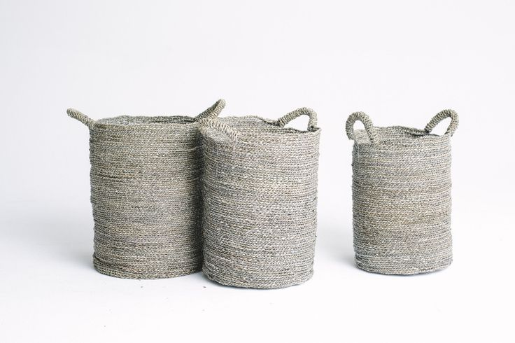 Tall Round Basket Grey