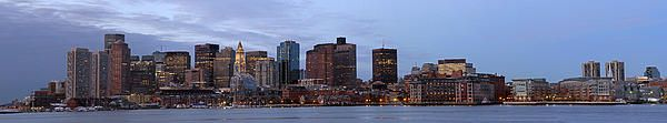 Skyline panorama photography of Boston from New England and Boston based fine art photographer Juergen Roth showing landmarks such as Boston Downtown, Custom House of Boston, New England Aquarium, Boston Harbor, Financial District and Prudential Center captured on a beautiful evening in November 2013 before twilight. www.RothGalleries.com