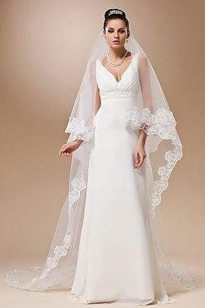 Véus de Noiva Vestido Laços e Apliques Véus Catedral