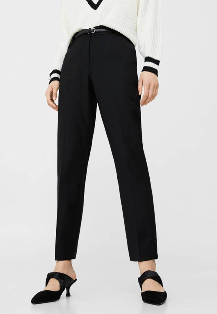 Mango. Trousers - schwarz. Fit:Tapered leg. Outer fabric material:68% polyester, 30% viscose, 2% spandex. Pattern:plain. Care instructions:do not tumble dry,Dry cleanable. Fastening:zip fly. Length:long. Lining:100% polyeste...