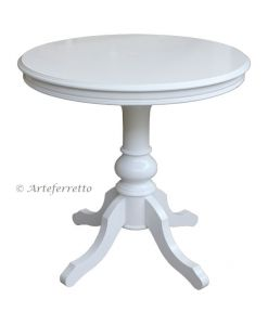 Rounded side table in wood made in Italy by Artigiani Veneti Riuniti. www.italian-style.co.uk . lacquered wooden coffee table, lacquered coffee table, coffee table, white coffee table, coffee table for living room