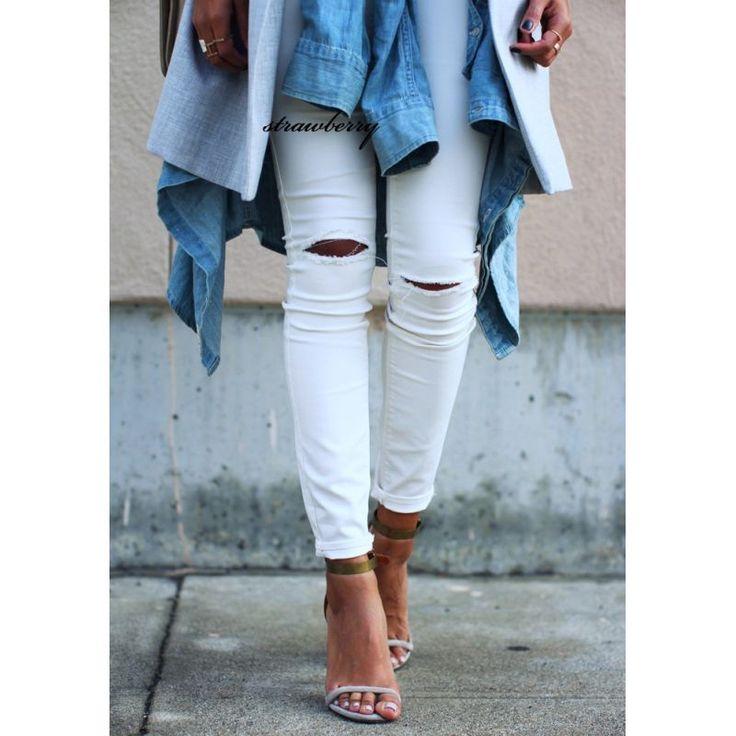 WHITE CUT KNEES PANTS | Για αγορά πατήστε πάνω στην εικόνα