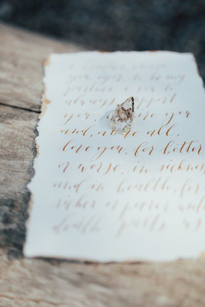 Barrier Lake Alberta Elopement Minimalist Beechwood Wedding Vows Gold Calligraphy Deckled Edge Engagement Ring   Bon Paper House   Photos by Meghan Doering and Hope Helmer