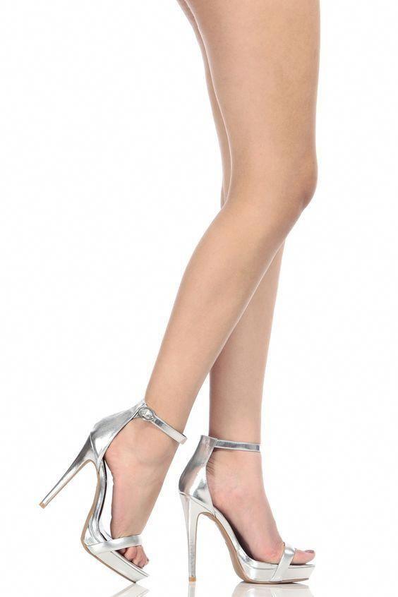 9392eb09109 Silver Faux Leather Ankle Strap Platform Heels   Cicihot Heel Shoes online  store sales Stiletto
