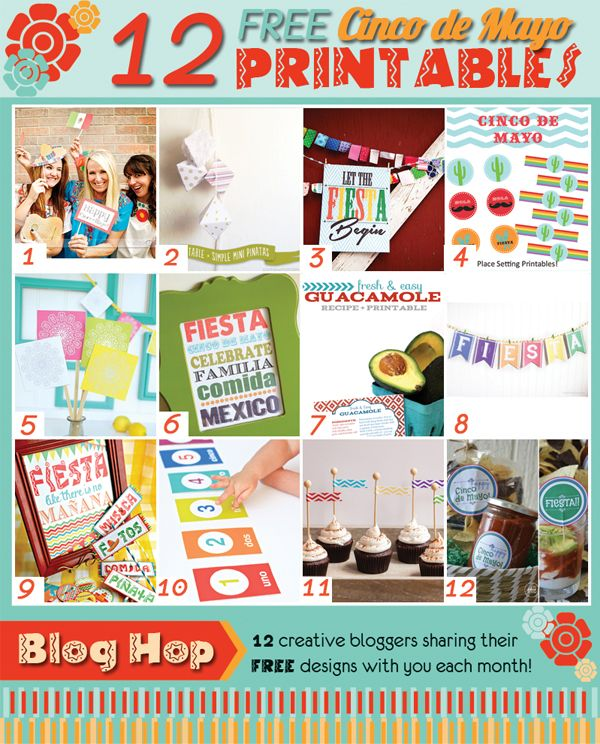 12 Free Cinco de Mayo Printables from @Heather Creswell Creswell // Whipperberry @Matt Valk Chuah TomKat Studio @Sam Taylor Cox and Jello .com and many more! Come join the #printableclub each month for all kinds of inspiration. This month is CINCO DE MAYO!!