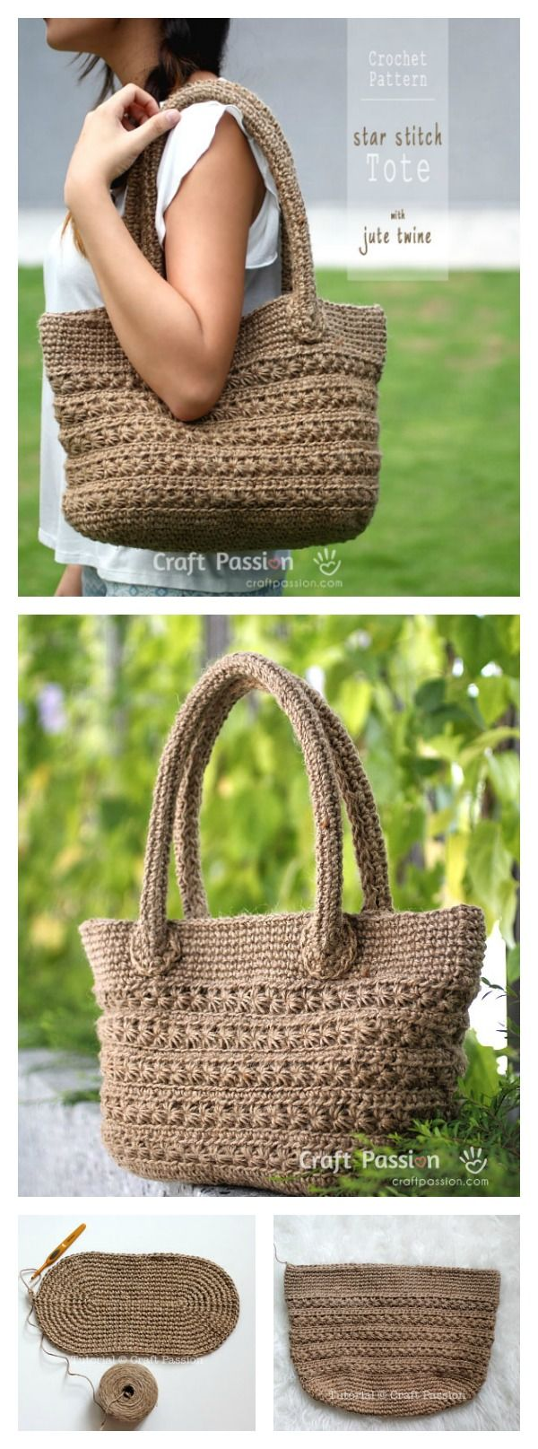 Crochet Star Stitch Tote Free Pattern