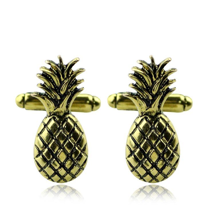 Golden pineapple cufflinks by Manschettbutiken - #cufflinks #manschettknappar #manschettbutiken #pineapple #golden #goldenpineapple - We ship worldwide - www.manschettbutiken.se