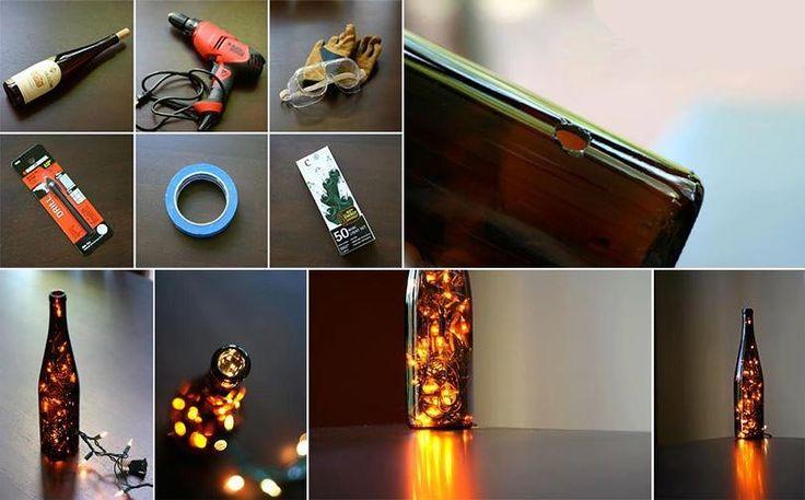 Botella luminosa de vidrio