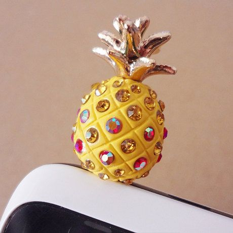 pineapple crystal for 3.5mm hole dustplug earplug dust plug iphone 5 iphone 4 4s ipad sumsan bling iphone HTC blackberry ipod earplugs plug on Etsy, $5.99