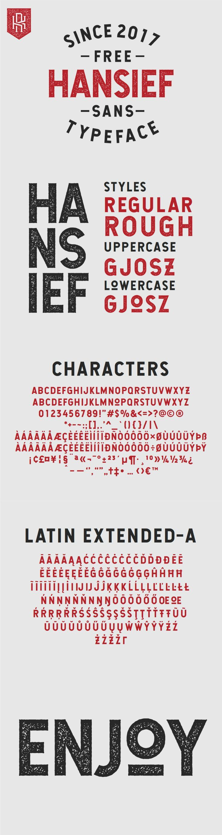 Hansief is a bold sans serif typeface from Kautsar Rahadi. It features a distinct vintage inspired style and comes with 2 styles - Regular and Rough. This typeface features great textures and is filled with unique characters. There are also extended latin characters for even broader use. Free for personal & commercial use