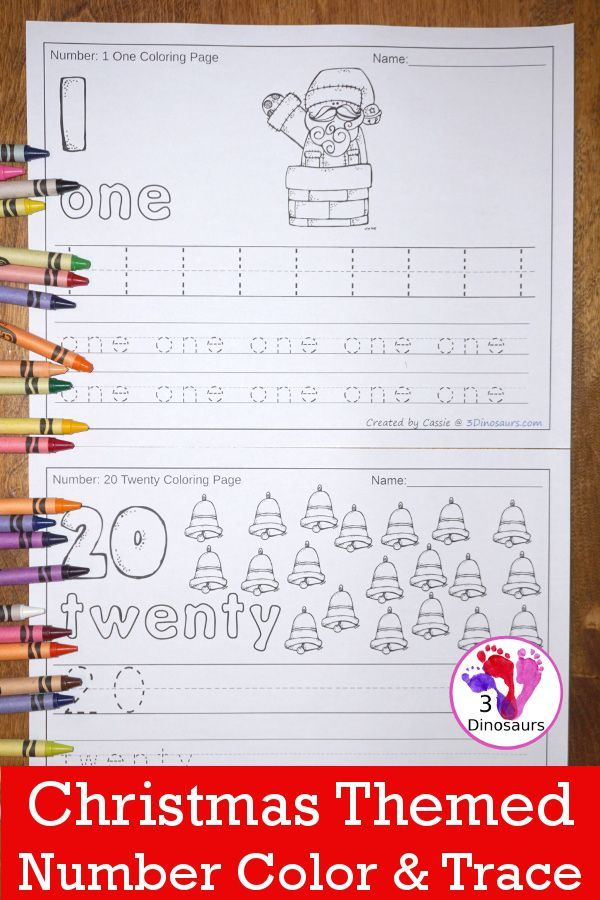 Christmas Themed Number Color & Trace | Kind