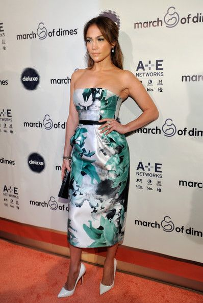 Jennifer Lopez wears a strapless teal-white-and-black dress to the March of Dimes Celebration of Babies Luncheon.