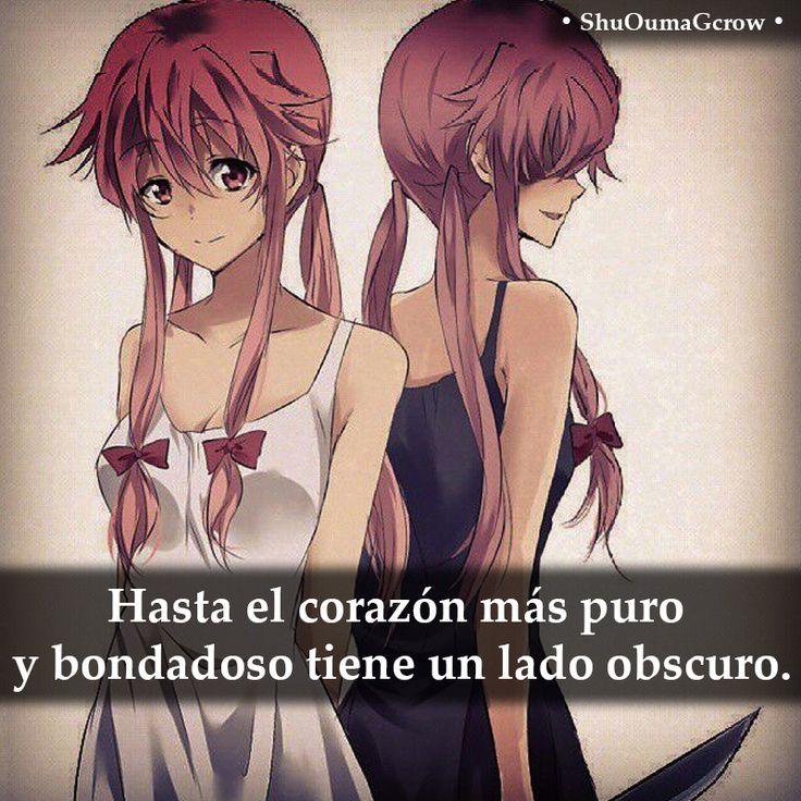 Hasta el corazón mas puro #ShuOumaGcrow #mirai_nikki #Anime #Frases_anime #frases