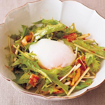 水菜とキムチの温玉サラダ