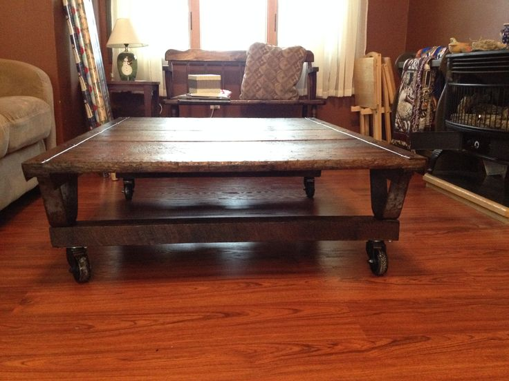 Skid pallet coffee table dyi projects ours pinterest for Skid pallet furniture