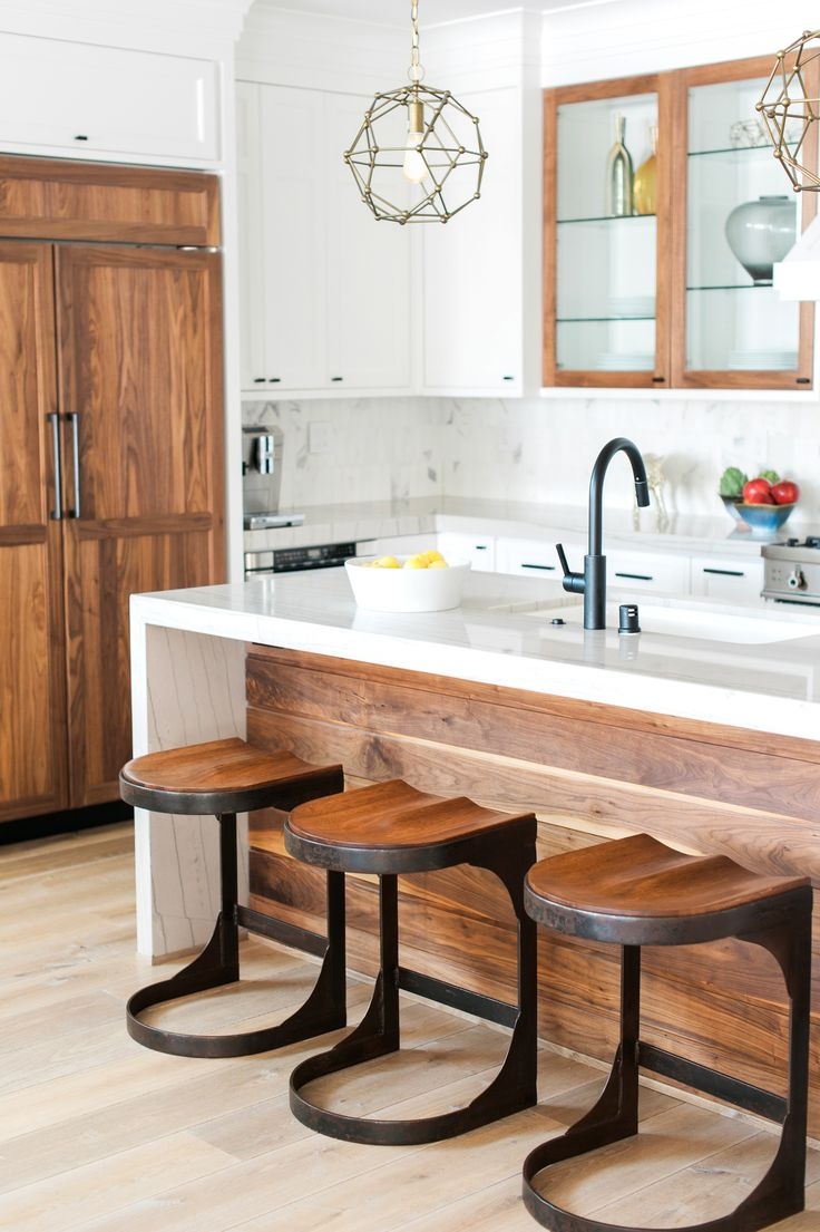 Mid century modern transitional kitchen atlanta by beauti faux - This Contemporary Kitchen Is A Melange Of White Cabinetry Warm Walnut Hues A Beautiful
