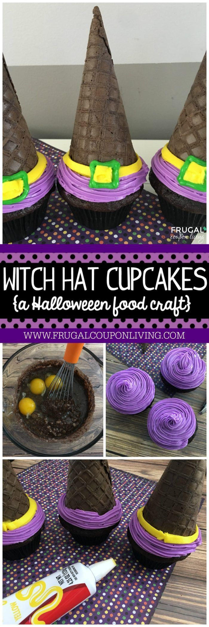 Halloween Witch Hat Cupcakes and more Halloween Food Crafts for Kids. These are fun for an October Birthday or to bring in the classroom as a Halloween Dessert. Recipe on Frugal Coupon Living.