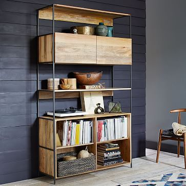 "Rustic Modular 49"" Open + Closed Storage #westelm 49""w x 17""d x 84""h. Solid mango wood with natural color variations. Blackened steel frames and legs."