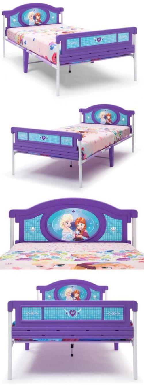 Kids at Home: Disney Princess Frozen Twin Bed Kids Children Bedroom Furniture Elsa Anna Purple BUY IT NOW ONLY: $133.5