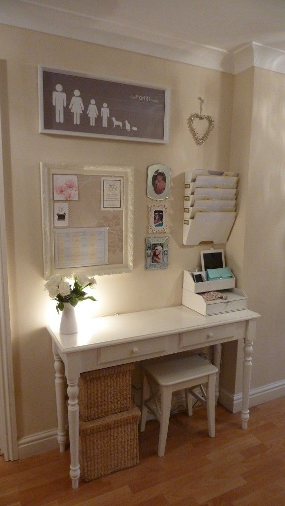 Tuck a narrow desk, mini stool, and hanging storage into a wide hallway to create a designated spot for paying bills and balancing your budget. That might not sound fun, but a pretty desk and an organised memo board can actually add style to a bare spot.  See more at Home Heart Harmony »  prima.co.uk