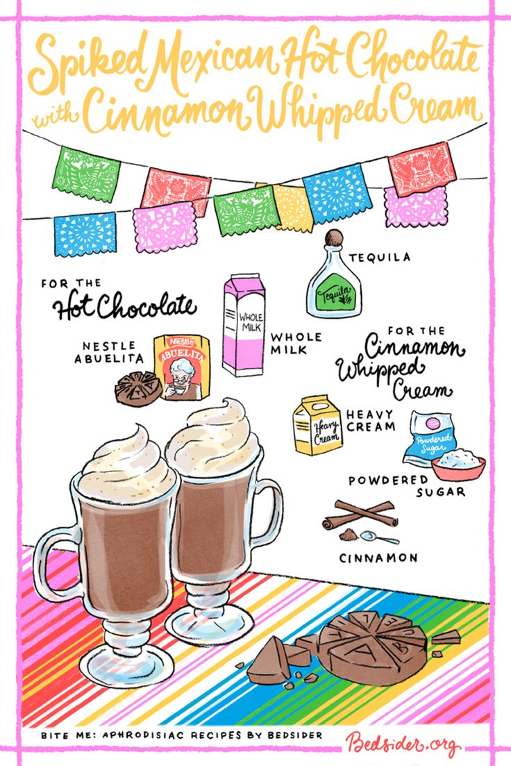 This spiked Mexican hot chocolate is exactly what you need while cuddled next to your S.O. this season. Get the full recipe at Bedsider.org.