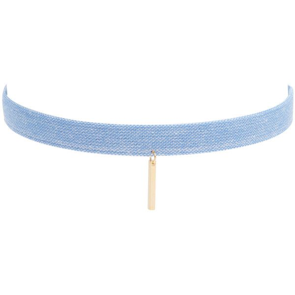 Jules Smith Women's Denim Bar Choker - Blue ($29) ❤ liked on Polyvore featuring jewelry, necklaces, accessories, blue, choker's, jules smith necklace, choker pendants, blue choker, long necklaces and blue pendant