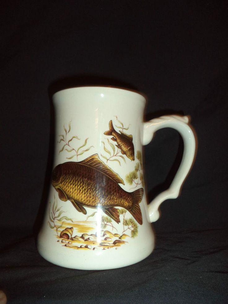 White Ceramic Carp/Catfish Fishing Beer Mug
